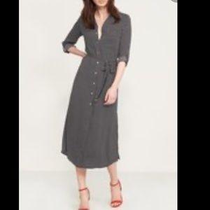 Dynamite Stripped Belted Maxi Shirt Dress - Medium